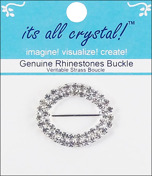 Vision Trims Genuine Rhinestone Oval Buckle Silver 35mm