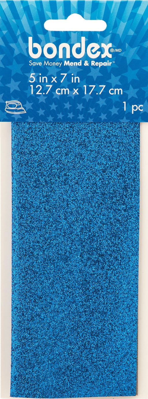 Bondex Iron-On Shimmer Mending Fabric Royal Blue 5inX7in