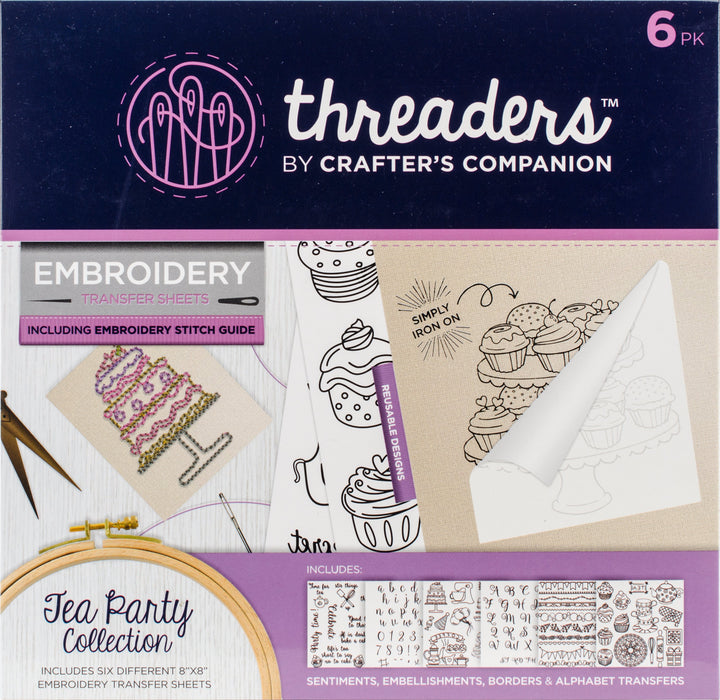 Crafter's Companion Threaders Embroidery Transfer Sheets Tea Party 6pk