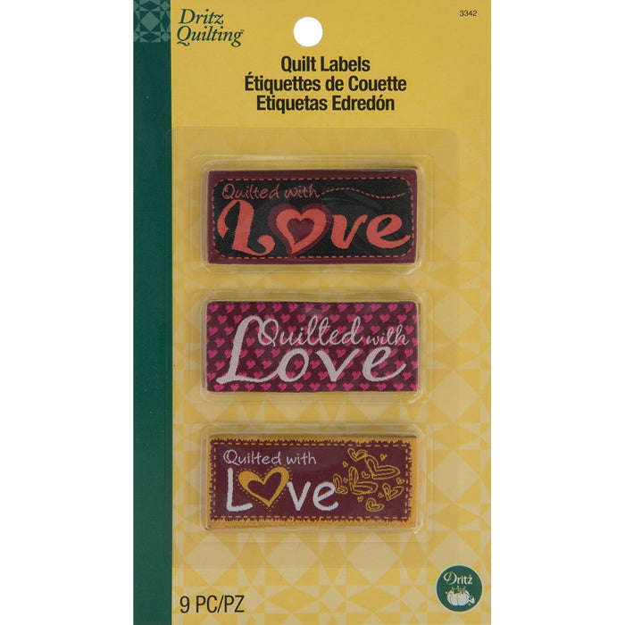 Dritz Quilting Sew In Embroidered Labels Quilted With Love 9pk