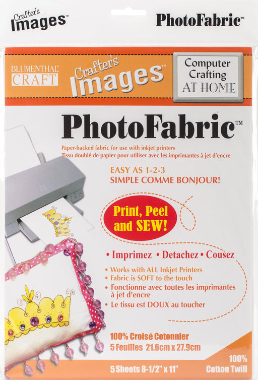 Crafter's Images Photofabric Twill 100% Cotton 8.5inX11in 5pk