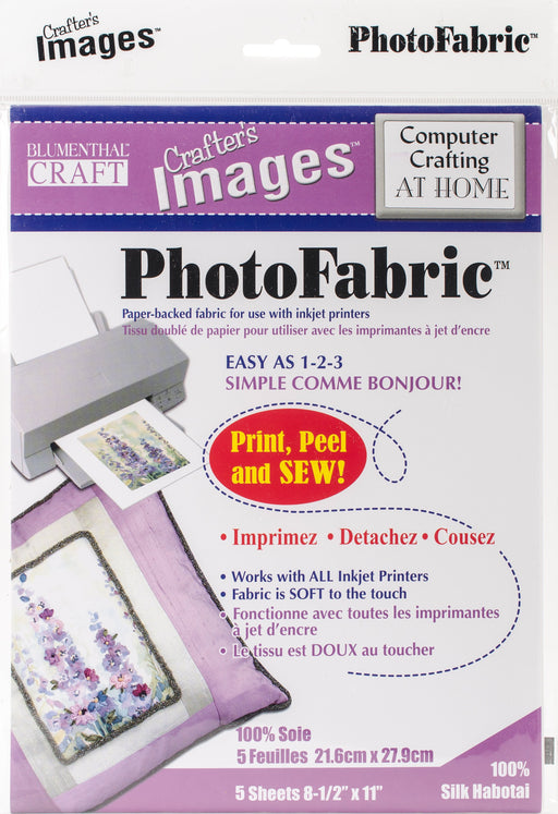 Crafter's Images Photofabric 100% Silk Habotai 8.5inX11in 5pk