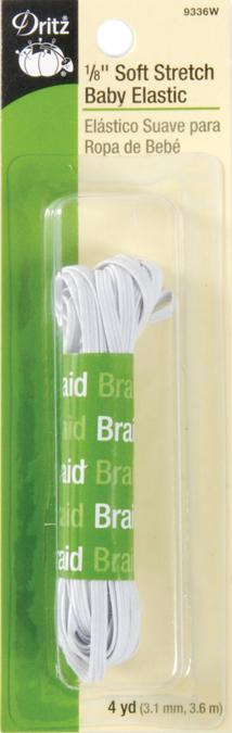 Dritz Soft Stretch Braided Elastic White 1/8inX4yds