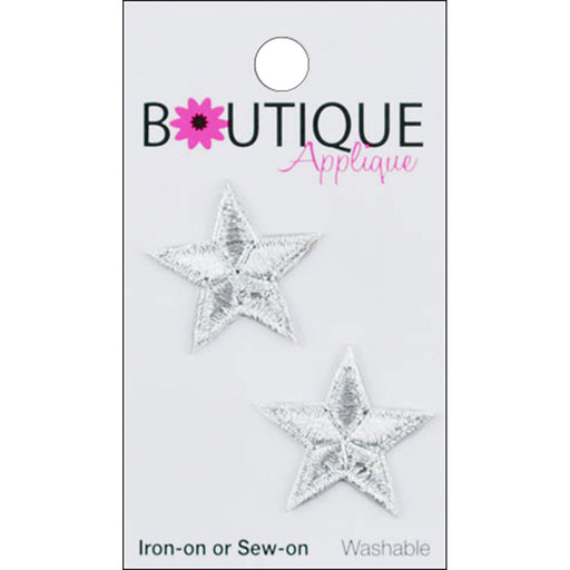 Iron On Appliques Silver Stars 2/Pkg