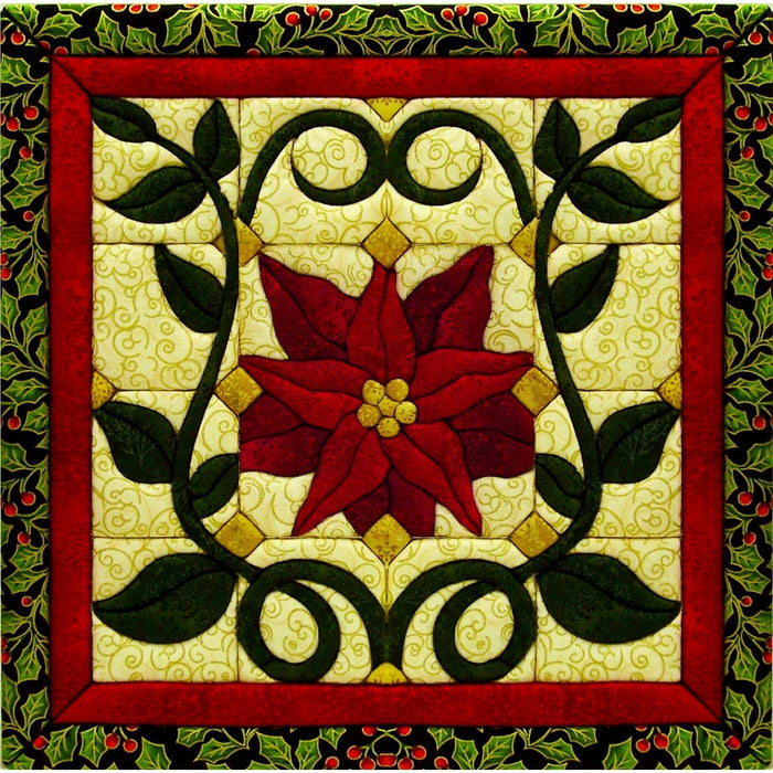Christmas Poinsettia Quilt Magic Kit 12inX12in