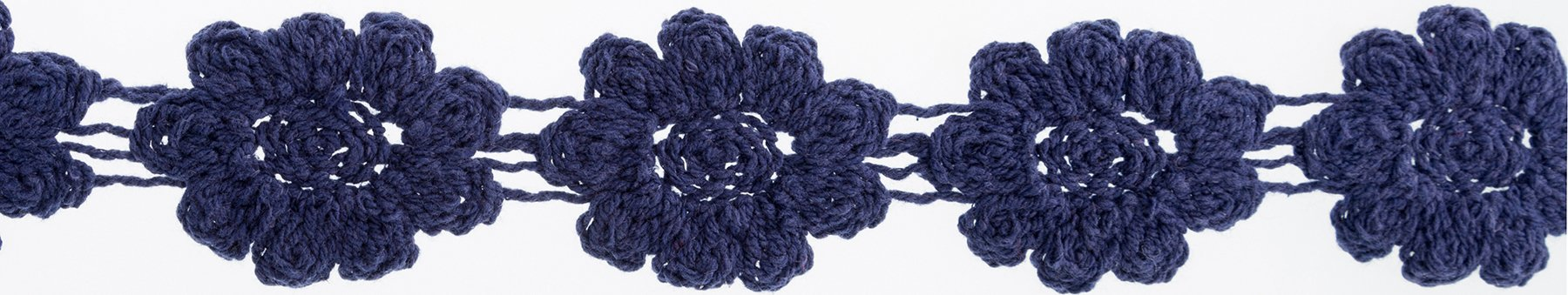 Crocheted Floral Trim Navy 1-1/8inX10yds
