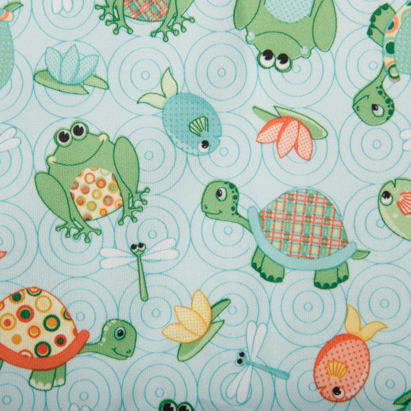 Babyville PUL Waterproof Diaper Fabric Playful Pond Turtles and Frogs