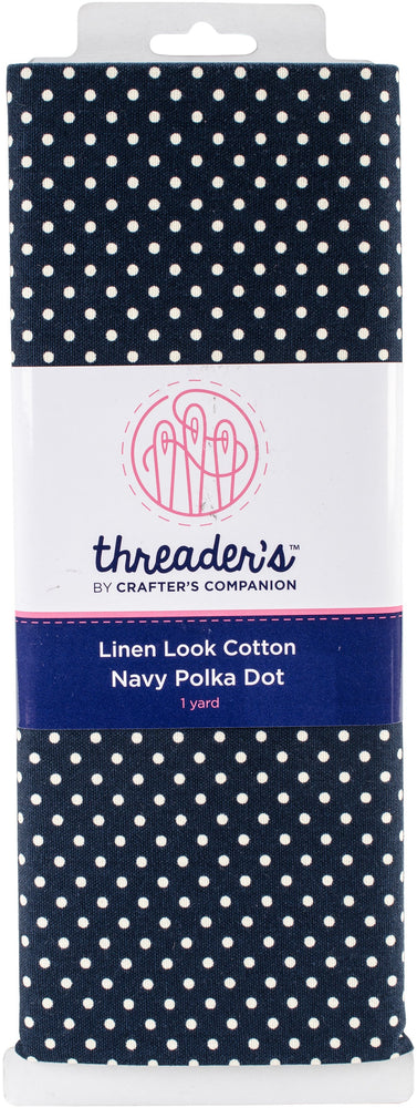 Crafter's Companion Threaders Linen Look Fabric Navy Polka Dot 1yds