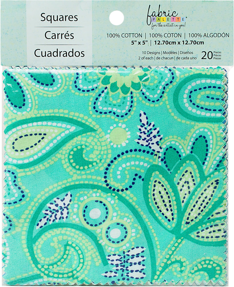 Fabric Palette Charm Pack Carnivale Blue 5inX5in 20pk