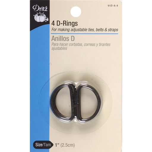 Metal D Rings 1in 4/Pkg Black