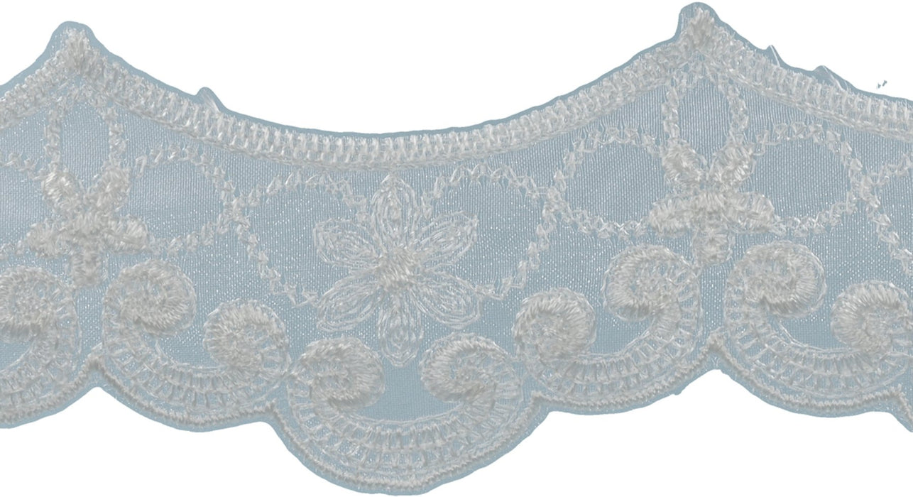 Embroidered Galloon Bridal Organza Trim Oyster 1.5inX10yds