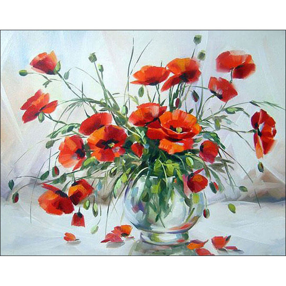 Diamond Embroidery Printed Gem Kit Poppies In A Vase
