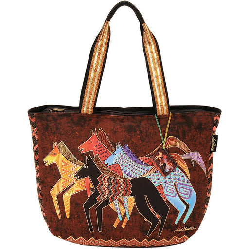 Shoulder Tote Zipper Top Native Horses 23.5inX5.5inX15.25in