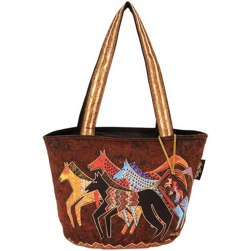 Medium Tote Zipper Top Native Horses 13.75inX6inX9.75in