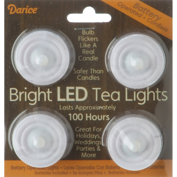 Battery Operated LED Tea Lights White 4pk