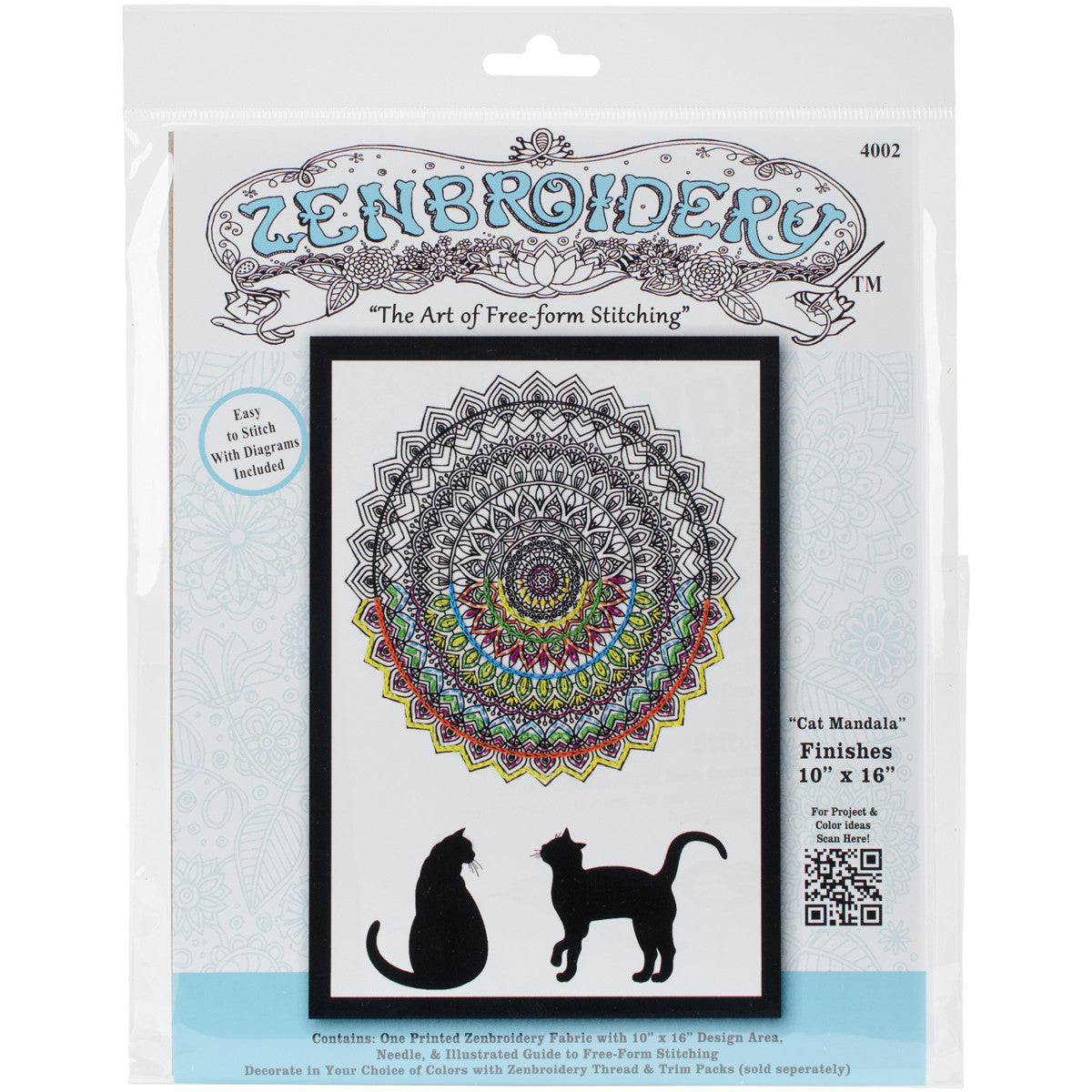 Zenbroidery Stamped Embroidery 10inx16in Cat Mandala Quilting