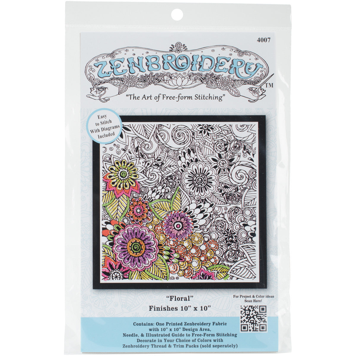Zenbroidery Stamped Embroidery 10inx10in Peace Quilting Warehouse