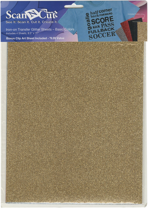 Brother ScanNCut Iron-On Transfer Glitter Sheets Sil Red Blk Gld 8.5inX11in