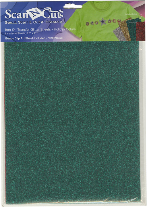 Brother ScanNCut Iron-On Transfer Glitter Sheets Sil Gld Grn Rd 8.5inX11in