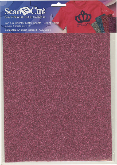 Brother ScanNCut Iron-On Transfer Glitter Sheets Sil Tl Pk Prpl 8.5inX11in