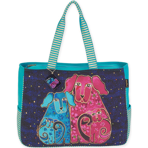 Oversized Tote Blossoming Pups 20inX6inX15.5in
