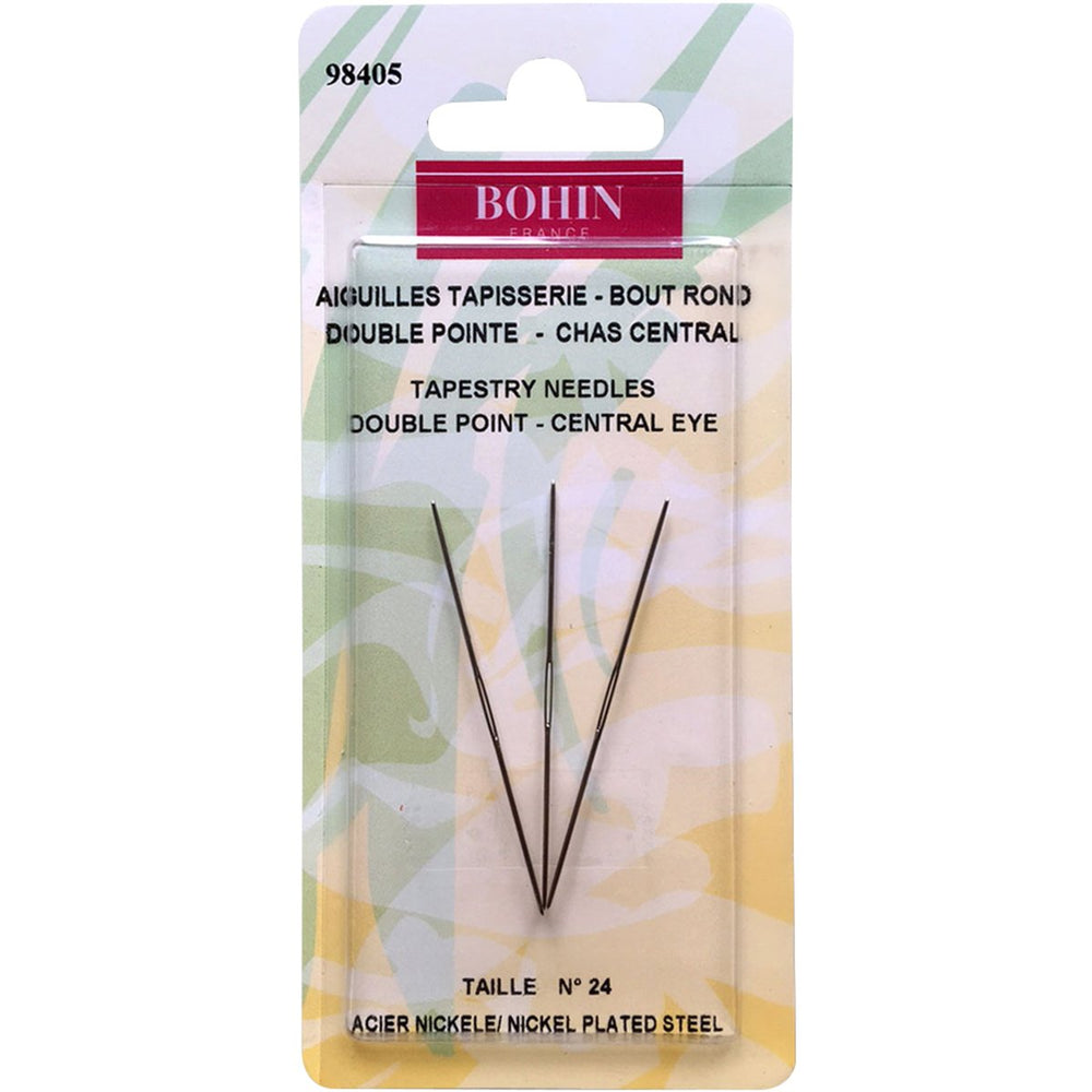 Bohin Double Point Central Eye Tapestry Needle Size 24 3pk