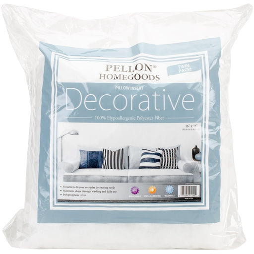 Decorative Pillow Insert Twin Pack 16inX16in 2DPI1616