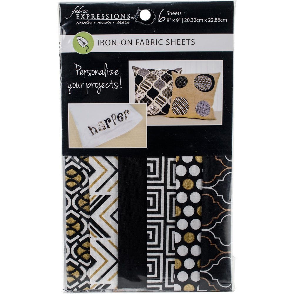 Fabric Editions Fusible Sheets Black & Gold 8inX9in 6pk