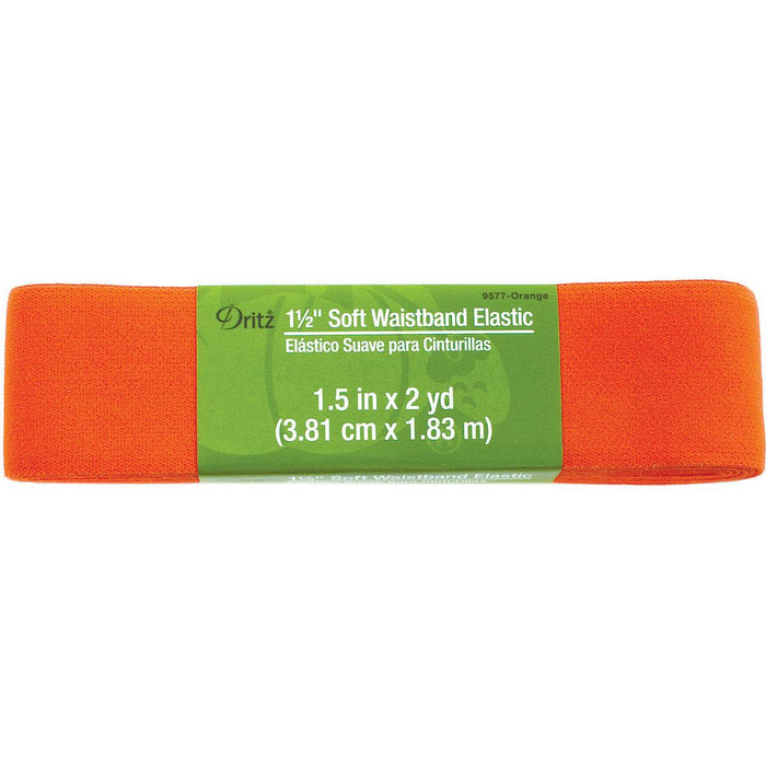Soft Waistband Elastic Orange 1-1/2inx2yds