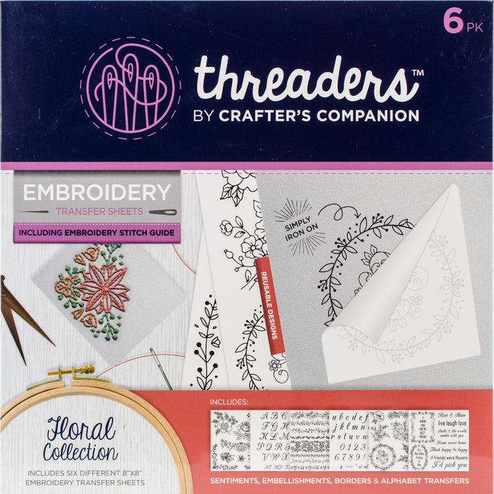 Crafter's Companion Threaders Embroidery Transfer Sheets Floral 6pk