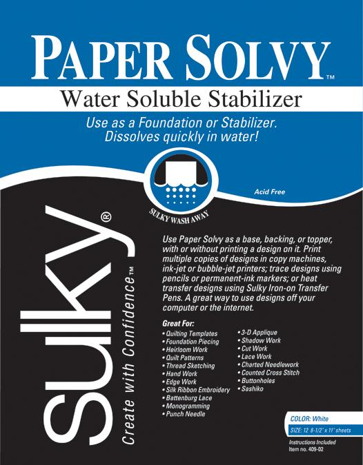 Water Soluble Stabilizer Paper Solvy