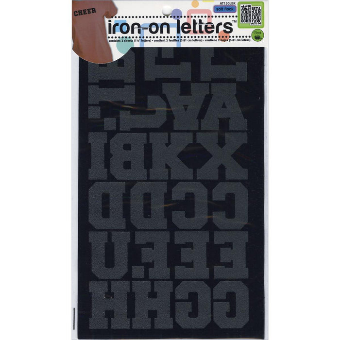 Iron On Letters Athletic Black 1-1/2in