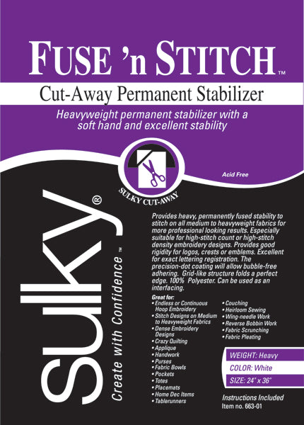 Fuse 'n Stitch Cut Away Permanent Stabilizer