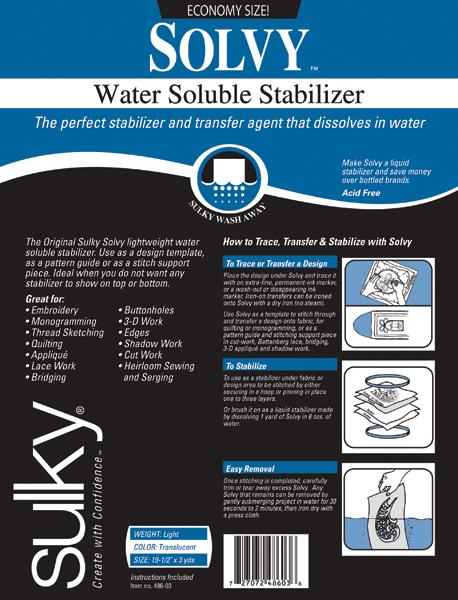 Solvy Water Soluble Stabilizer 3 yards.