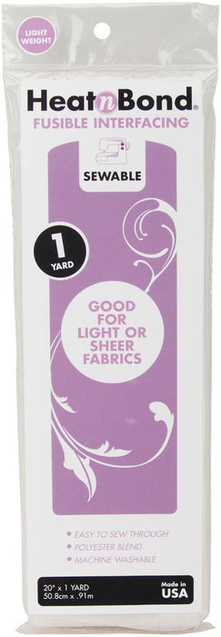 HeatnBond Light Weight Iron-On Fusible Interfacing White Sewable
