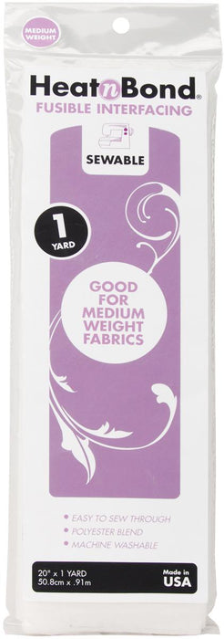 HeatnBond Med wgt Iron-On Fusible Interfacing White Sewable