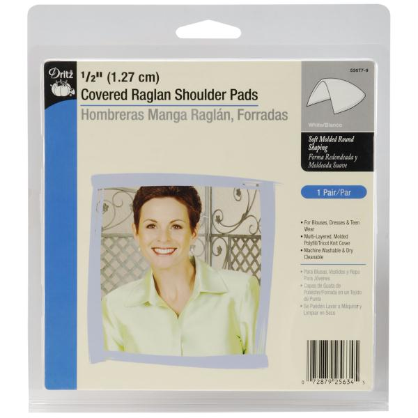 Shoulder Pads White 1/2in Covered Raglan White 2/Pkg