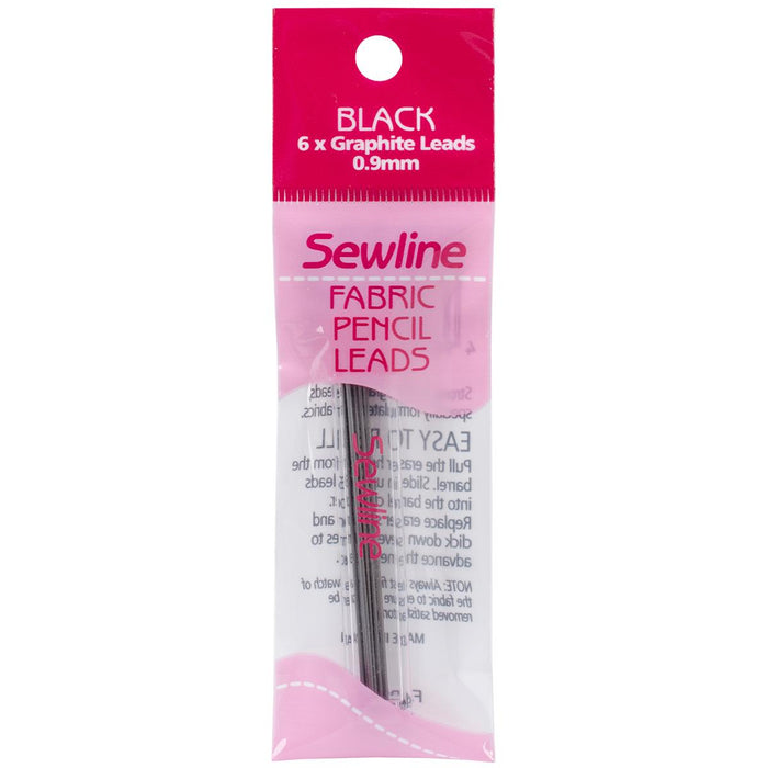 Sewline Mechanical Fabric Pencil Lead Refill Black 6/Pkg