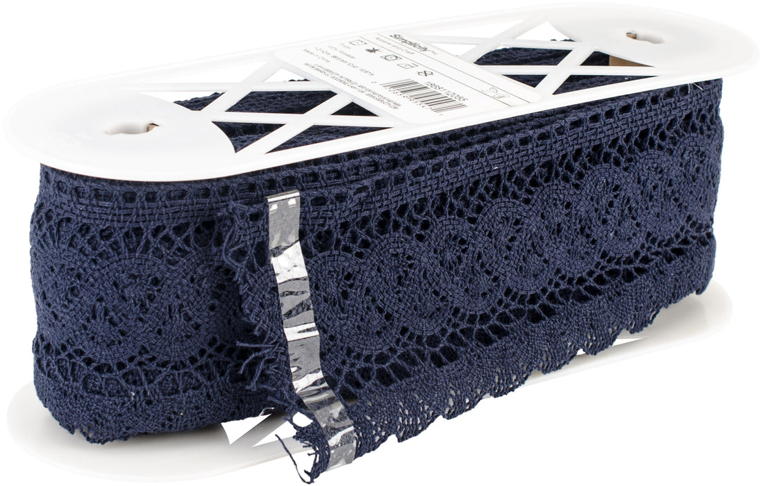 Fan Cluny Lace Navy 3.5inX12yds