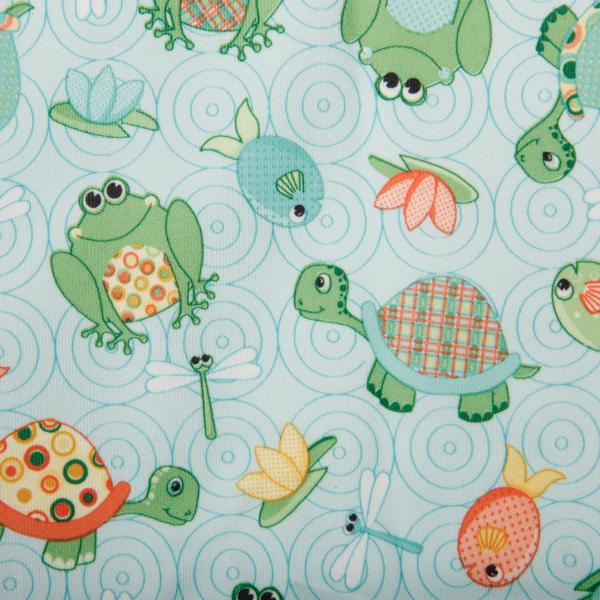 Babyville PUL Waterproof Diaper Fabric 64inX6yds D/R Playful Pond Turtles & Frogs