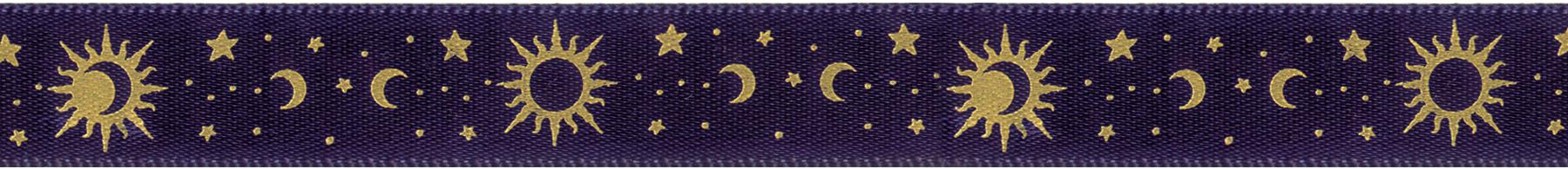 Double Face Satin Celestial Ribbon Navy and Gold 5/8inX12ft