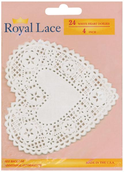 Paper Doilies White Heart 4in