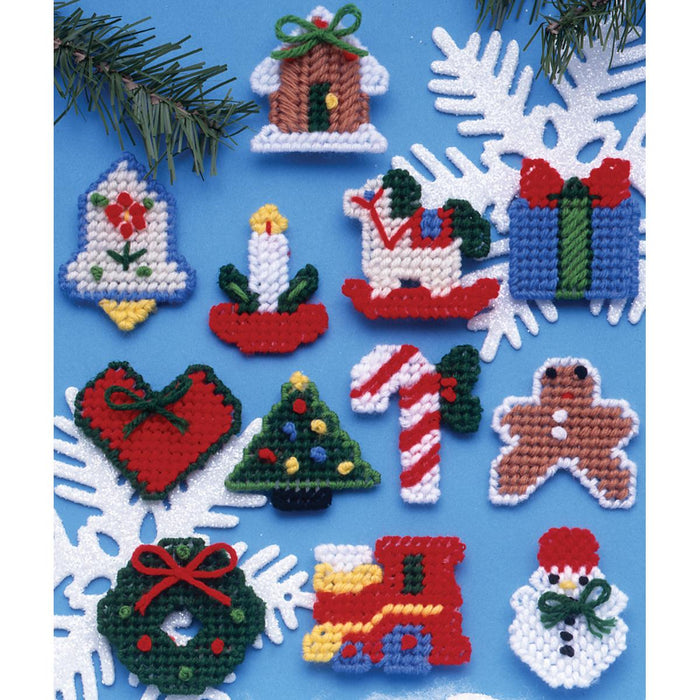 Country Christmas Ornaments Plastic Canvas Kit 7 Count