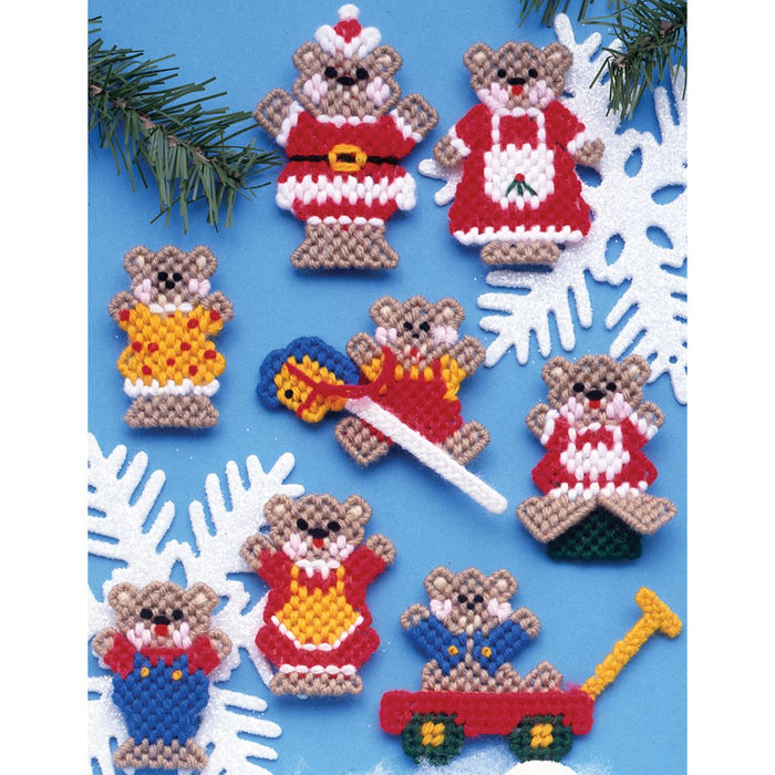 Christmas Teddy Bears Ornaments Plastic Canvas Kit 7 Count