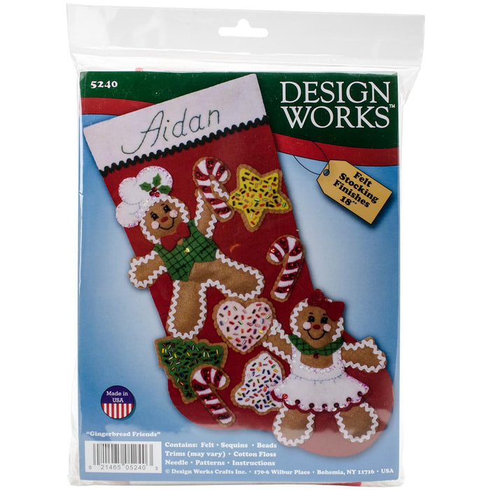 Gingerbread Friends Stocking Felt Applique Kit 18in Long