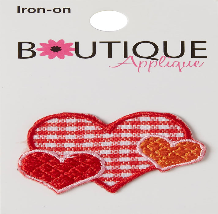 Iron-On Appliques Plaid Hearts
