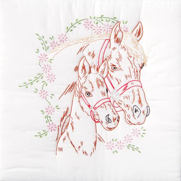 Stamped White Quilt Blocks Mare and Colt