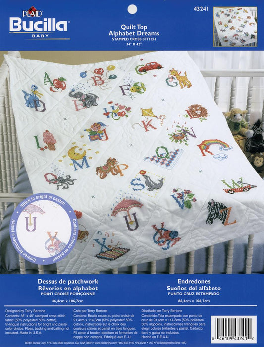 Stamped Cross Stitch Baby Quilt Top Alphabet Dreams