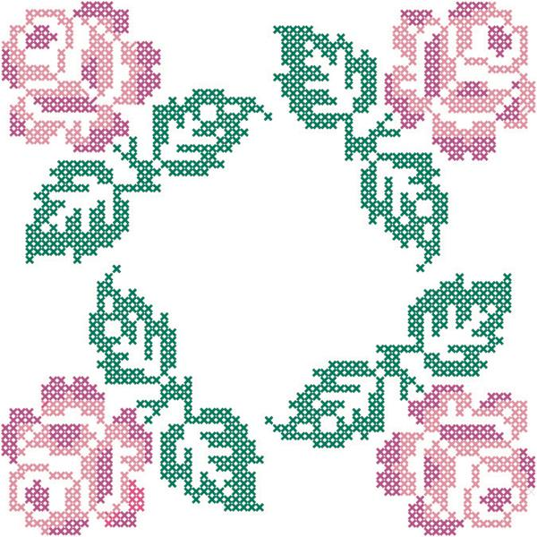 Quilt Blocks Stamped Roses In Four Corners