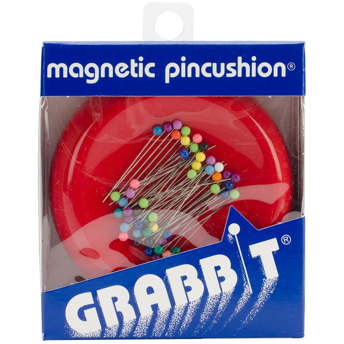 Grabbit Magnetic Pincushion With 50 Pins Red